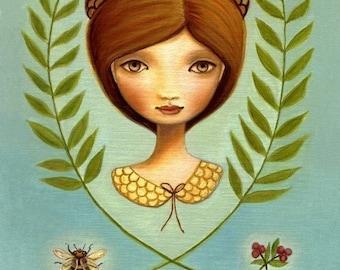 art print Acorn queen big eye Girl Bee pink berry beehive bird print nest blue green autumn premium matte by Marisol Spoon