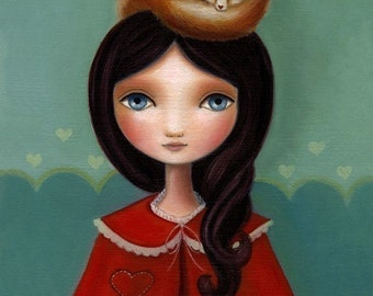 Portrait Girl and fox art - Rose Print on premium matte paper 8x10 - fairytale fennec fox spirit animal by Marisol Spoon