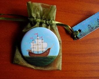 Nautical - Ladyship pocket mirror ship mirror by Marisol Spoon
