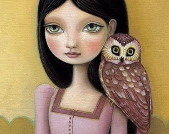 Girl owl art print - Evelyn print on premium matte paper - woodland pop surrealism by Marisol Spoon