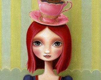 Big eye girl redhead art 8x10 wonderland art print pink hair tea cup illustration ship art nautical painting art print by Marisol Spoon