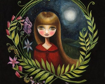 Girl Moon art print 8x10 print night sky flower girl hasel eyes big eyed floral art - 8x10 print little red riding hood art by Marisol Spoon