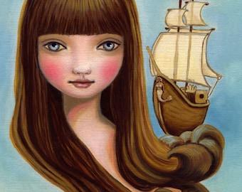 Nautical art sailor girl mermaid print ship siren ocean art sea blue eye brunette LARGE print 11x14 Stella of the Sea by Marisol Spoon
