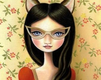 Library Masquerade print on premium matte - Kitty cat bandit art, pop surrealism by Marisol Spoon
