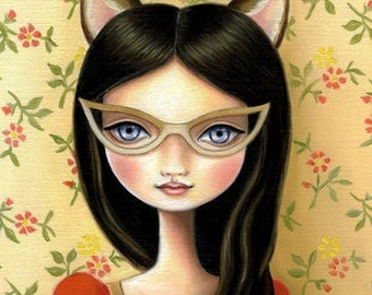 cat girl art Cateye glasses print Cat girl - Library Masquerade 13x19 LARGE print on somerset velvet - little bandit by Marisol Spoon