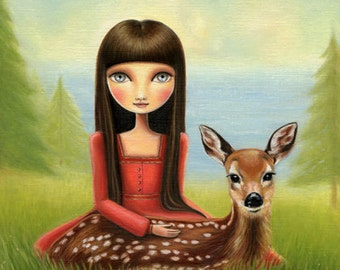 big eye Girl and fawn art - Adalaide LARGE 11x14 print on premium matte - Woodland and sea art by Marisol Spoon