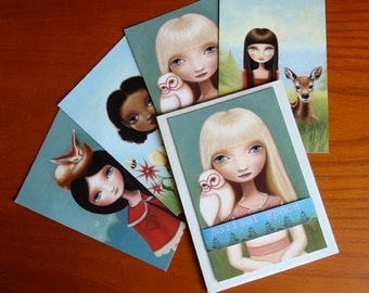owl art postcard pack stationary set  greeting thank you cards big eyed girl, owl, fox, fawn, butterfly, and honey bee by Marisol Spoon