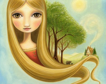 Girl and bears woodland bear print goldilocks rapunzel  -  LARGE 11x14 -  fairytale art  Early Autumn on Yellow Mountain by Marisol Spoon