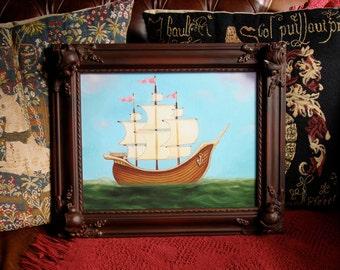 Unique Framed art Nautical ship framed print  picture frame wall art boys room ocean sea print 11x14 Somerset velvet - by Marisol Spoon