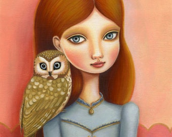 golden owl art girl art print red head big eye girl room wall decor - 8x10 premium matte paper - woodland pop surrealism by Marisol Spoon
