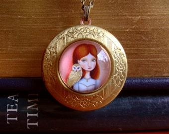 owl girl locket art boho necklace pendant picture locket necklace vintage woodland jewelry Imogene by Marisol Spoon