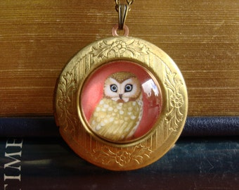 Owl locket owl art pendant boho jewelry owl necklace gold locket brass boho necklace vintage necklace woodland jewelry by Marisol Spoon