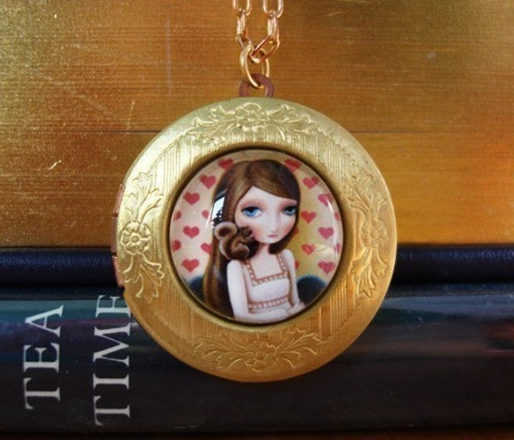 Greta locket - vintage style locket with girl and squirrel by Marisol Spoon