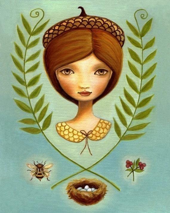 art print Acorn queen big eye Girl Bee pink berry beehive bird