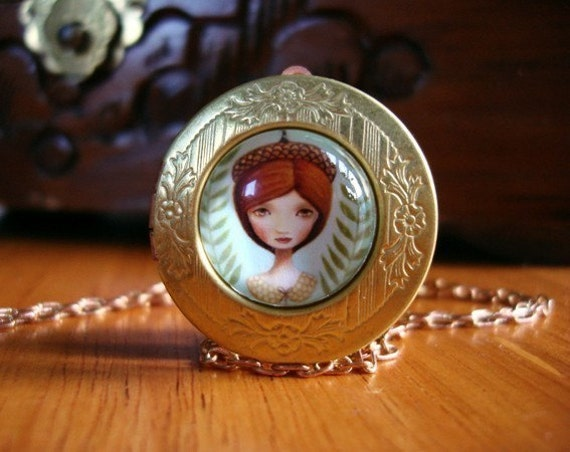 Vintage brass locket pendant necklace picture locket art necklace boho jewelry art pendant necklace jewellery nickle free by Marisol Spoon