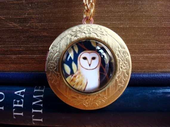 Owl necklace jewelry picture locket blue dream vintage woodland The Forest's Edge by Marisol spoon