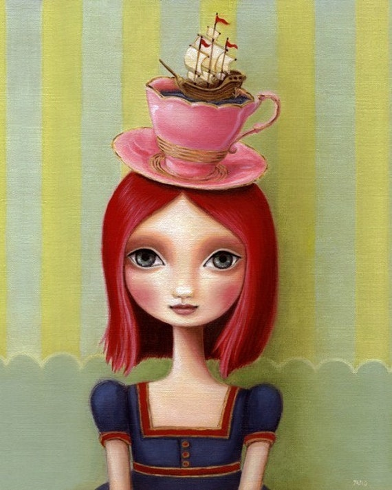 Big eye girl redhead art 8x10 wonderland art print pink hair tea cup illustration ship art nautical painting art print by Marisol Spoon