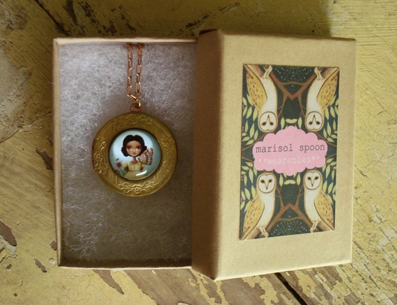 Maya Locket necklace - Girl, butterfly, and bee vintage style brass pendant necklace nickle free locket by Marisol Spoon