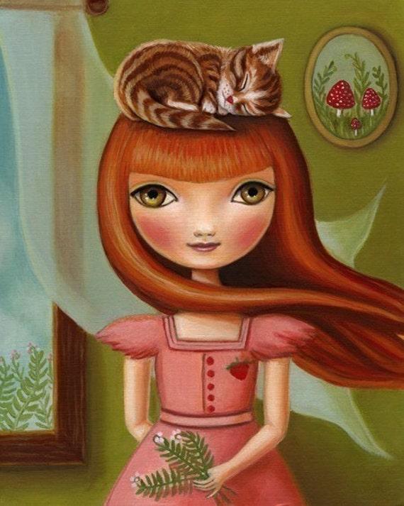 8x10 Girl and cat art  - Abigail print on premium matte paper - woodland pop surrealism by Marisol Spoon
