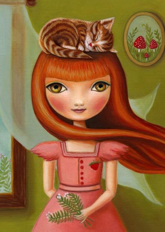 red head cat Girl nursery art girls room pink and green nursey wall decor mushroom strawberry premium matte paper 5X7  by Marisol Spoon