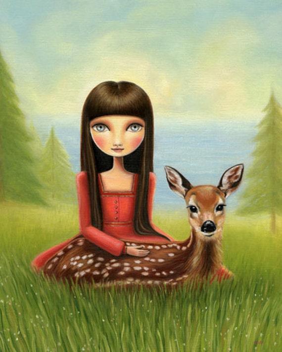 art print big eye Girl deer fawn print ocean sea forest big sur - 8x10  print snow white matte paper - Woodland and sea art by Marisol Spon