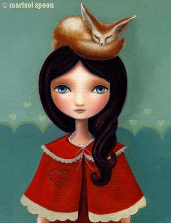 art print Girl and Fox fennic fox big eye woodland art little girl  LARGE print 11x14 on premium matte Rose by Marisol Spoon