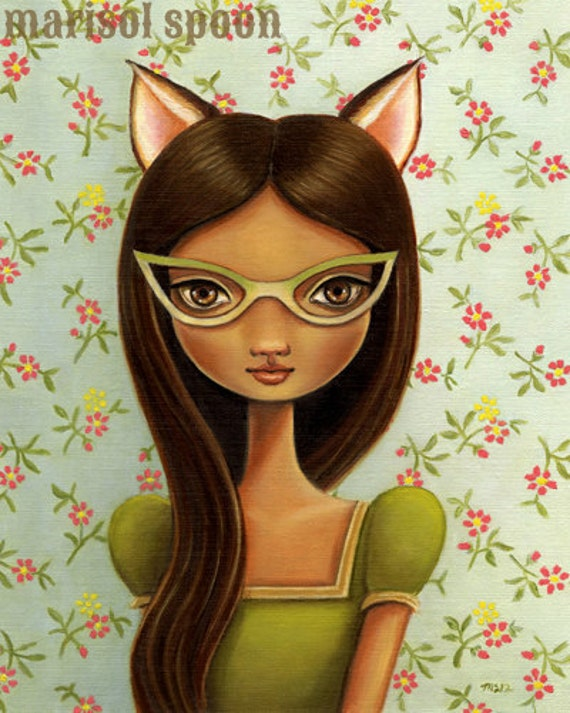 cat eye glasses art print illustration girls room fox ears floral print blue green dress  pop surrealism Miss Kitty Fox by Marisol Spoon