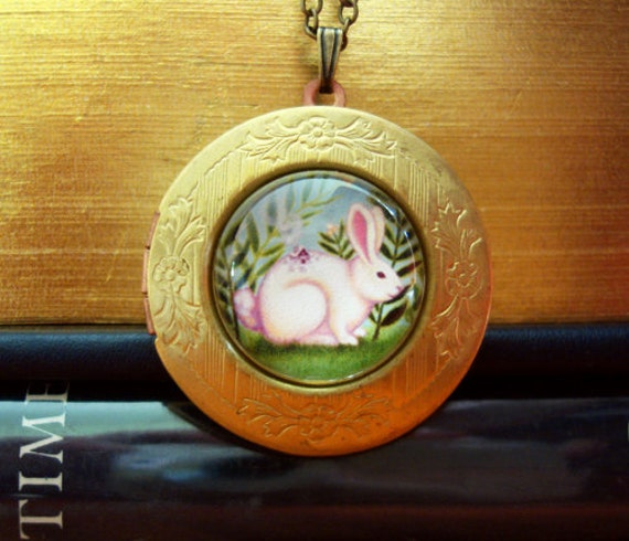 Rabbit locket Rabbit necklace Rabbit pendant Bunny necklace Brass gold Locket locket vintage boho woodland jewelry by Marisol spoon