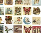 1 inch by 1 inch square Vintage Animals  8.5 x 11 sheet All Images are Different BUY 3 GET 1 free