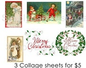 Vinatge Christmas Kids Digital Collage 6 images BUY 3 GET 1 FREE