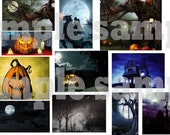 Creepy Halloween Themed Images Digital Collage Sheet