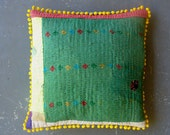"""Quilted Vintage Kantha Throw Pillow Cover w Yellow Pom Poms 16"""""""