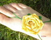 Lemon Yellow Rose with Crystal Center Barefoot Sandals