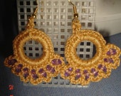 Gold and Purple Beaded Earrings