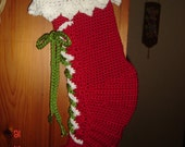 Santa's Boots Christmas Stocking in red
