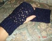 Lacy Fingerless Gloves- Sapphire