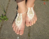 Bridal Cream and Almond Pearl-like glass beading Barefoot Sandals