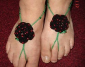 """Gothic Rose with Red Seed beading and Green Beaded """"Stems"""" Barefoot Sandals"""