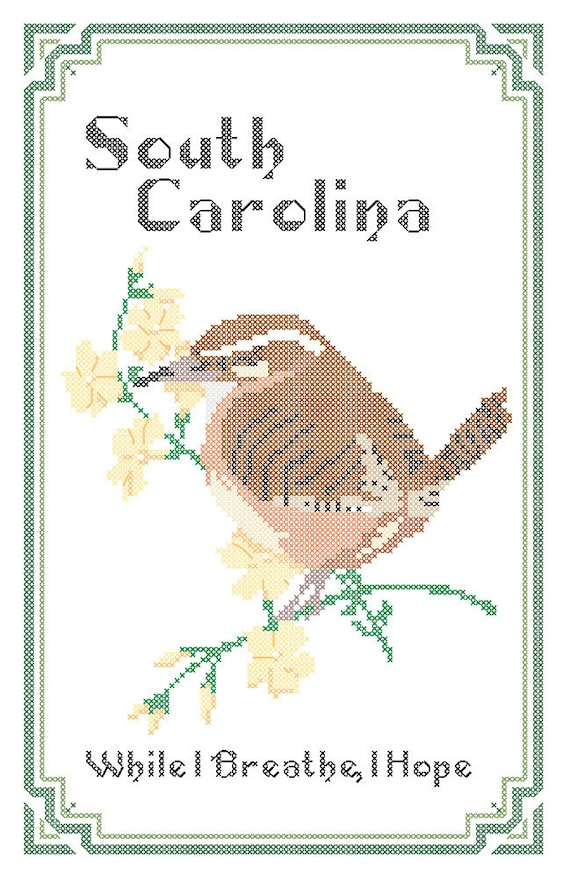 South Carolina State Bird Flower and Motto Cross by robinsdesign
