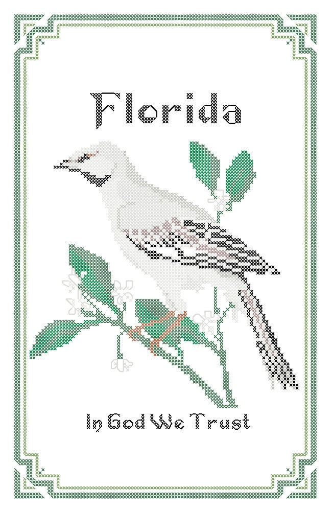 Florida State Bird Flower and Motto Cross Stitch by robinsdesign