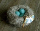 Larger Needle Felted Nest With Blue Eggs - Waldorf Inspired