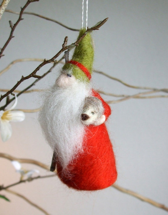 Ornament -  Gnome With Hedgehog - Waldorf Inspired - Needle Felted