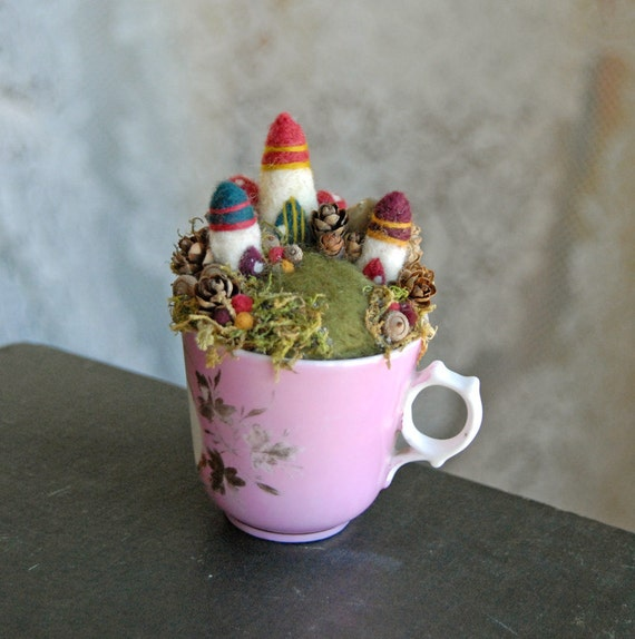 Tiny Fairy Houses and Miniature Village, Waldorf Fairy Garden in a Cup, Needle Felted
