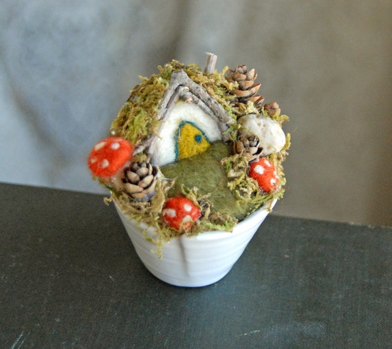 Hobbit House, Gnome Home in a Cup, Needle Felted House and Mushrooms