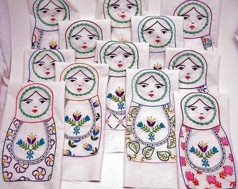 PDF Embroidery Pattern Set- 12 Matryoshka Dolls