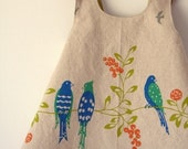 Birdsong Reversible Modern Pinafore Dress by Noah and Lilah - 18mo purple ONLY - Last one available and then sold out