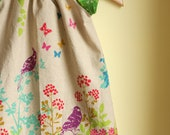 spring birds - peasant dress perfect for summer - green color