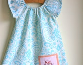 let's ride - blue ikat peasant dress with bicycle appliqué - 12m ready to ship