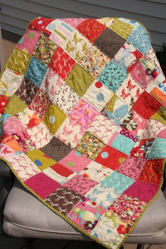 Wonderland Baby Quilt - Great Gift Idea - Great Playmat Size - Out of Print Fabrics