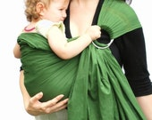 Baby Ring Sling Carrier Sage Green Baby Basics extra SuperWide Ring Sling - Ready to Ship in Standard or Petite Length